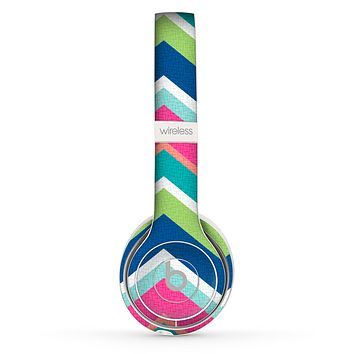 The Vibrant Teal & Colored Layered Chevron V3 Skin Set for the Beats by Dre Solo 2 Wireless Headphones