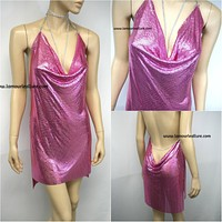 Sexy Luxury Barbie Pink Rhinestone Party Metal Chain Halter Dress - Backless
