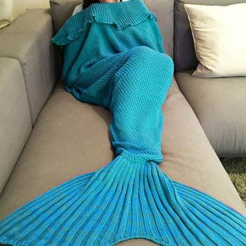 Chic Quality Comfortable Falbala Decor Knitted Mermaid Design Throw Blanket