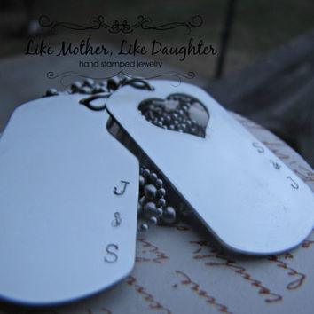 His & Hers Personalized Hand Stamped Dog Tags in Stainless Steel  GREAT GIFT for Valentine's Day