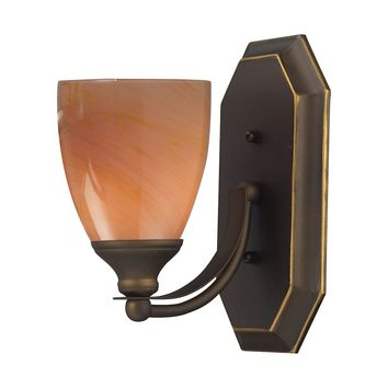 Bath And Spa 1 Light Vanity In Aged Bronze And Sandy Glass