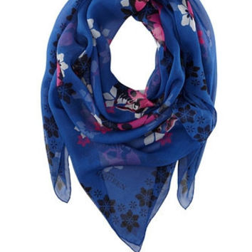 Alexander McQueen Cutout Multi Skull and Floral Print Scarf