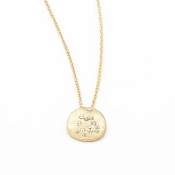 Hand Made AQUARIUS Zodiac Sign Constellation Necklace 18K GOLD Plated Aquarius Constellation Necklace Aquarius Star Sing Zodiac Small Charm