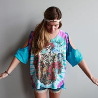 Grateful Dead Tie Dye Bertha Asymmetrical Open Cut Out Cold Shoulder Upcycled Oversized Tshirt//Top/Shirt Womens Hippie Boho Festival