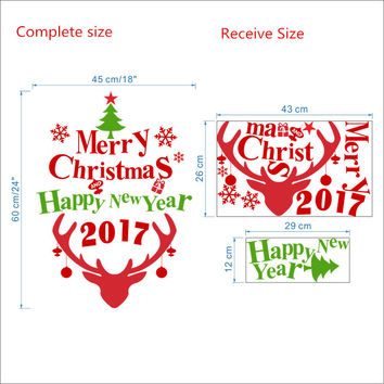 2017 Merry Christmas Happy New Year Deer Wall Sticker Decals Snowflake Christmas store window glass Poster Mural Wall Art SM6