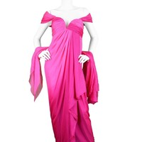 Odicini Couture 1980s Pink Ombre Draped Silk Grecian Goddess Evening Gown