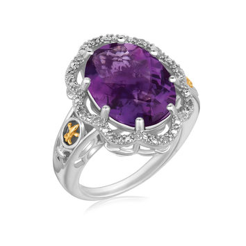 18K Yellow Gold and Sterling Silver Fleur De Lis Ring Amethyst and Diamonds