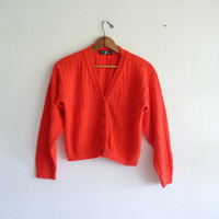 red cardigan sweater   bright cropped boyfriend by thelittlemarket
