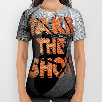 Vintage: Take the Shot Basketball  All Over Print Shirt by Quote Life Shop