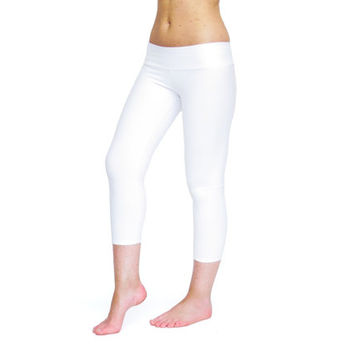 White leggings white yoga pants crop yoga pants capri pants