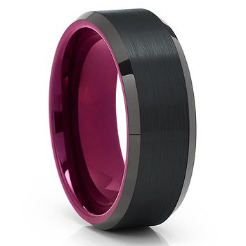 Purple Tungsten Ring - Black Tungsten Ring - Tungsten Carbide Ring - Purple Band