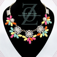 Fluorescence Colorful Necklace, Bib Necklace, Statement Necklace, Jewelry