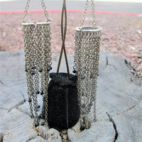 Wind Chime Silver Chain Earrings Long Boho Wire Dangles Vintage Jewelry Gift