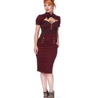 Voodoo Vixen Steampunk Burgundy Pencil Dress