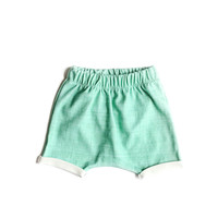 Organic Harem Shorts in Teal Linen
