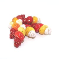 Ombre beads with gold tiny dots, Polymer Clay beads in red orange, yellow and white, Spring shape unique beads, set of 6 Spiral beads
