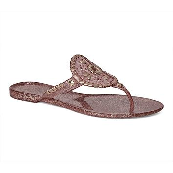 Sparkle Georgica Jelly Sandal in Rose Gold by Jack Rogers