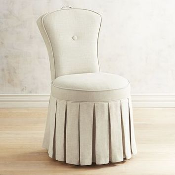 Reese Natural Skirted Vanity Chair