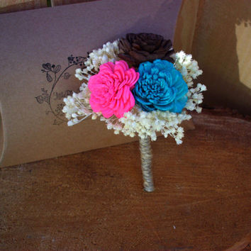 Rustic sola boutonniere wedding boutonniere you choose colors sola button hole rustic wedding wedding boutonniere