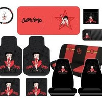 13pcs Betty Boop Skyline Floor Mats Seat Covers Bb Bench Steering Wheel Cover Key Chain Litter Bag Cd Visor & Sunshade
