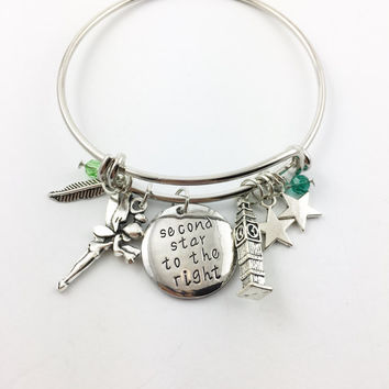 "Peter Pan theme hand stamped ""second star to the right"" charm bangle bracelet"