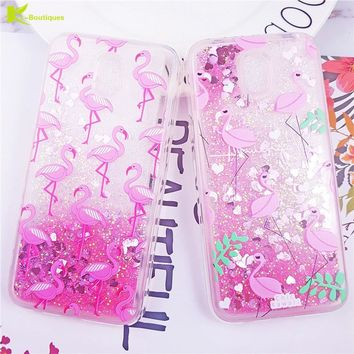 Flamingo Liquid Case for Fundas Samsung Galaxy J3 J5 J7 2017 S9 S8 Plus S7 6 edge Note 9 8 Cover for iPhone XS Max 8 7 5 6s Plus