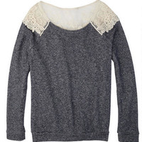 Lace Shoulder Sweatshirt -