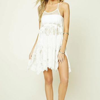 Embroidered Lace Cover-Up Dress