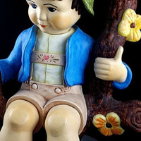 Vintage Handmade Ceramic Boy Sitting On Branch 1981 Colorful Art Deco Home Decor