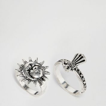 ASOS Pack of 2 Sun & Eagle Rings at asos.com
