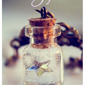 Swarosvki star Tiny glass Bottle Necklace, with glitter stars. Glass Vial necklace miniature Bottle Pendant Cute Necklace