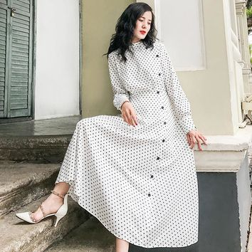 Women Full Sleeves Black White Dot Long Dress