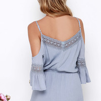 Wilde Heart Gypsy Warrior Blue Grey Lace Romper