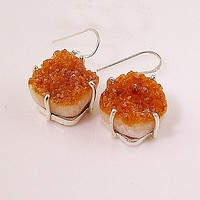 Citrine Drusy Sterling Silver Earrings