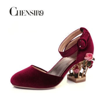 CHENSIR9 Women Mary Jane Shoes Velvet and Flower in Strange Frework Heels Shoes for Wedding Party Shoes Plus Size 33-46 MYU01C