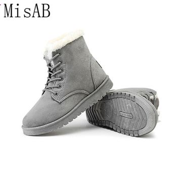 winter boots 2016 fashion winter women boots flat shoes lace-up women ankle boots snow boots warn fur casual shoes ALF216