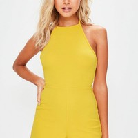 Missguided - Yellow Strappy 90s Neck Crepe Romper