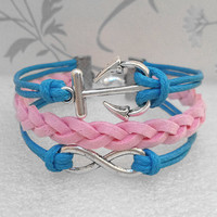 Anchor Bracelet.Infinity Symbol Bracelet. Blue Wax Cords and Pink Braid Bracelet.Christmas.