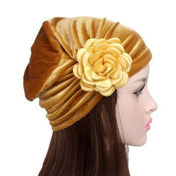 Autumn Winter Beanies Hat Unisex knitted Flower Cancer Chemo Hat Beanie Scarf Turban Head Wrap Cap gorro Solid Hat
