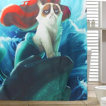 Custom Grumpy Cat of Little Mermaid Waterproof Fabric Shower Curtain Waterproof Shower Curtains Bathroom Products 100% Polyester