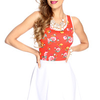 White Red Orange Floral Print A-Line Dress