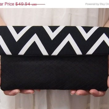 ON SALE Bridal Bridesmaid Clutch - Clutch - Monogram Print - Unique Wedding Clutch Purse - Black White Clutch - Formal Prom Clutch Bag
