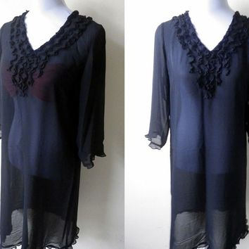 Summer Sale: sheer black ruffled tunic dress or swimsuit cover up (free size)