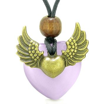 Angel Wings Double Lucky Heart Donut Amulet Magic Powers Purple Simulated Cats Eye Pendant Necklace