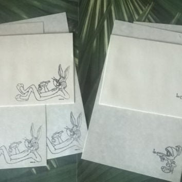 Bunny or Martian stationery Set 1 5 10 parchment paper letter writing and envelope hand stamped cartoon handmade cards adult coloring page