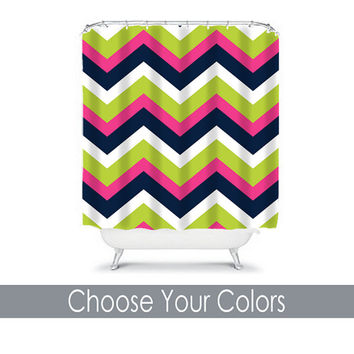 Chevron Shower Curtain Monogram CUSTOM You Choose Colors Hot Pink Navy Blue Lime Green Pattern Bathroom Bath Polyester Made in the USA