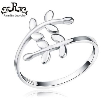 Sterling Silver S925 Cute Leave Design Open Cuff Adjustable Rings Elegant Engagement Party Women Ring Jewelry Gift