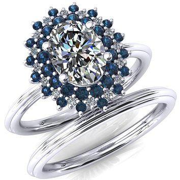 Eridanus Oval Moissanite Cluster Diamond and Alexandrite Halo Wedding Ring