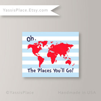 Oh, the Places You'll Go, Dr. Seuss Kids Wall Art Blue Red and Navy Map Art Print Typography Poster, Playroom art UNFRAMED by Yassisplace