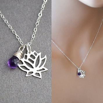 Lotus Necklace, Sterling Silver Lotus Necklace, Birthstone Necklace, Lotus Flower Necklace, Lotus Jewelry, Silver Lotus Charm